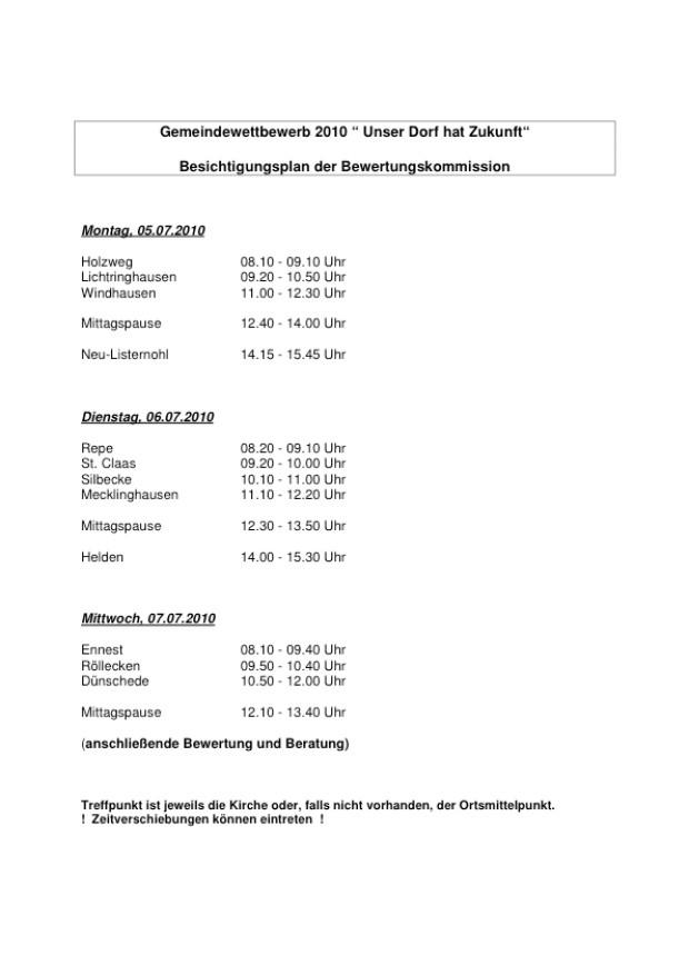 Unser Dorf hat Zukunft - Bereisungsplan Attendorn 2010