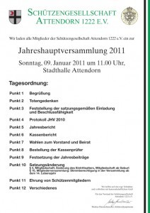 Jahreshauptversammlung Schützen 2011 - Attendorn
