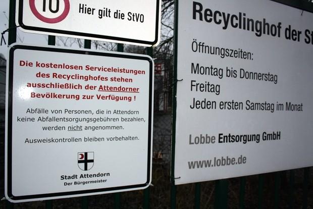 Recyclinghof Attendorn - Ausweiskontrollen
