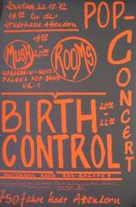 Plakat - 1972 - Konzert Birthcontrol - Stadthalle Attendorn