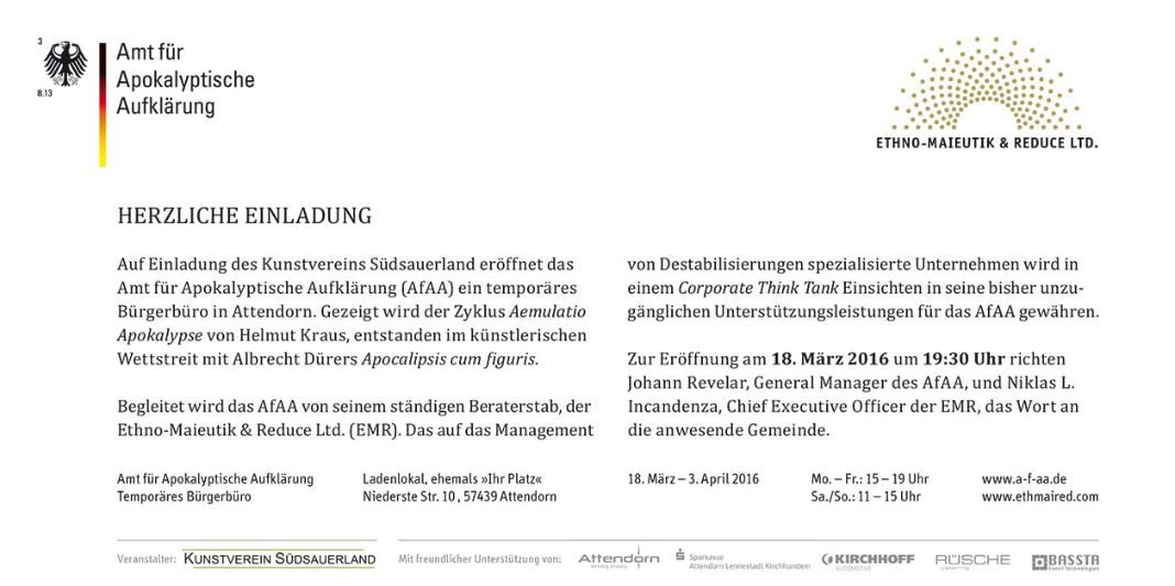 einladung - Amt für Apokalyptische Aufklärung (AfAA)