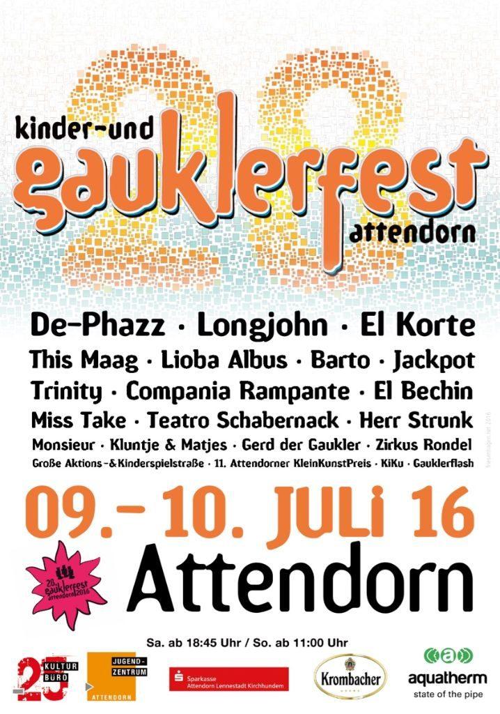 Gauklerfest Attendorn plakat 2016