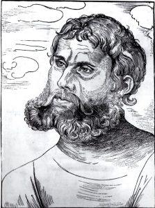 Er ist das Subjekt der Ausstellung: Martin Luther 1521 als Jun ker Jörg auf der Wartburg Holzschnitt von Lucas Cranach d.Ä. / Repro: Karl-Hermann. Ernst