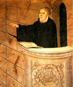 Er ist das Subjekt der Ausstellung: Martin Luther 1547 als Predi- ger in der Wittenberger Stadtkirche Gemälde von Lucas Cranach d.Ä. / Repro: Karl-Hermann Ernst