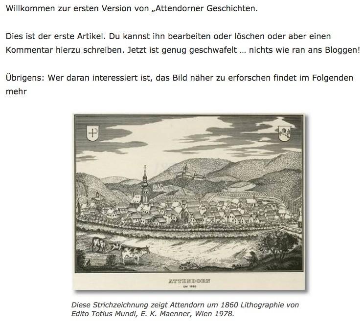 10 Jahre Attendorner Geschichten - Erster Post der Attendorner Geschichten am 20.01.2007