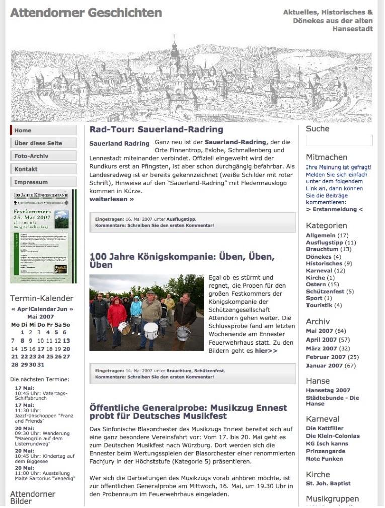 10 Jahre Attendorner Geschichten - Attendorner Geschichten im Mai 2007