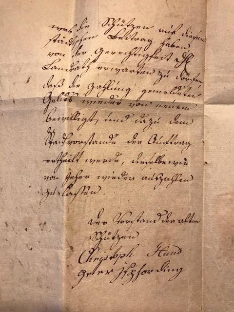 """""""Bettel-Brief"""" der """"alten"""" Schützen an Landrat Freusberg von 1818 Seite 2"""