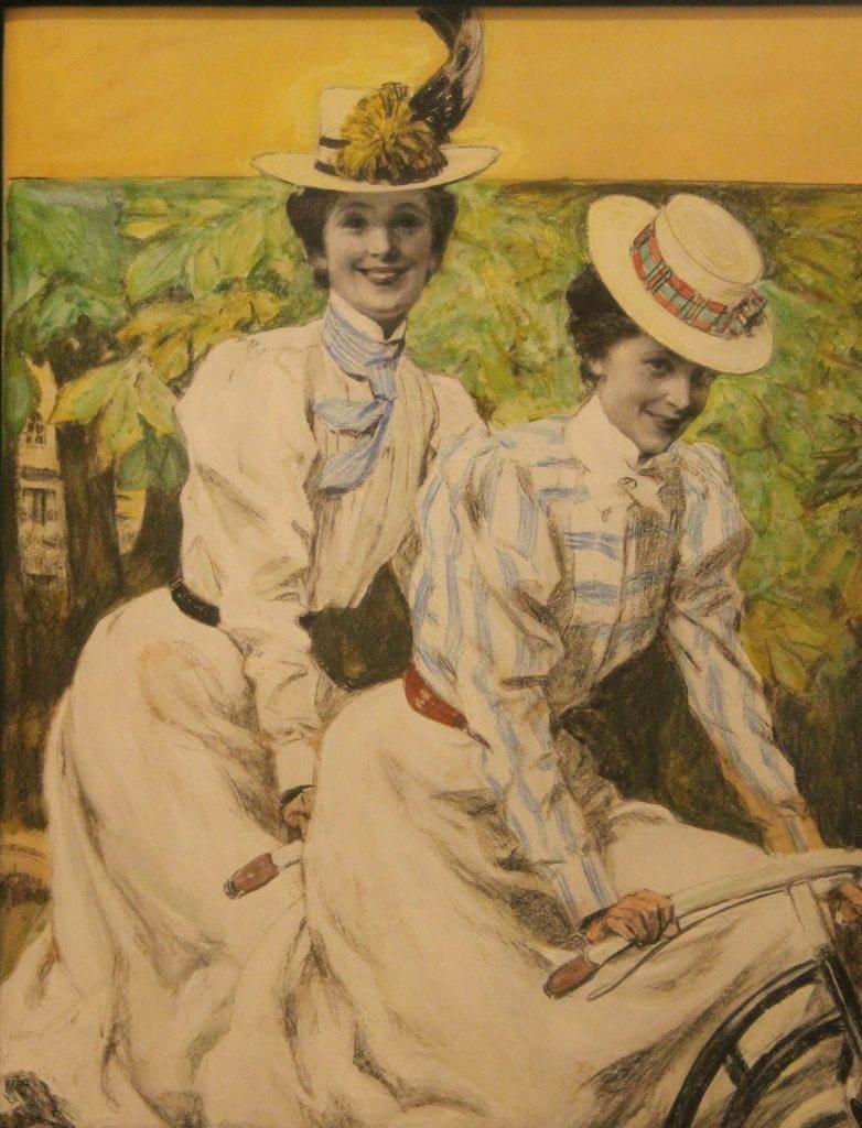 Paul Rieth- Zwei Mädchen auf dem Fahrrad Entwurf fu?r ein Titelbild der Zeitschrift Jugend- 1899-Stiftung Sammlung Wulff Lennestadt