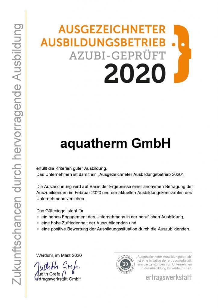 re zertifizierung ausgezeichneter ausbildungsbetrieb 1 aquatherm gmbh
